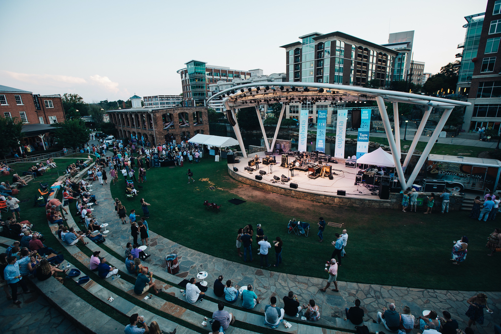aerial view of euphoria band stage